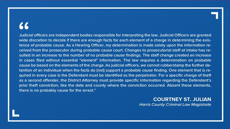 Courtney St. Julian response to no probable cause ruling