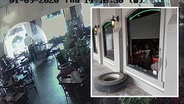 Video: Tire flies through restaurant window, narrowly misses employee
