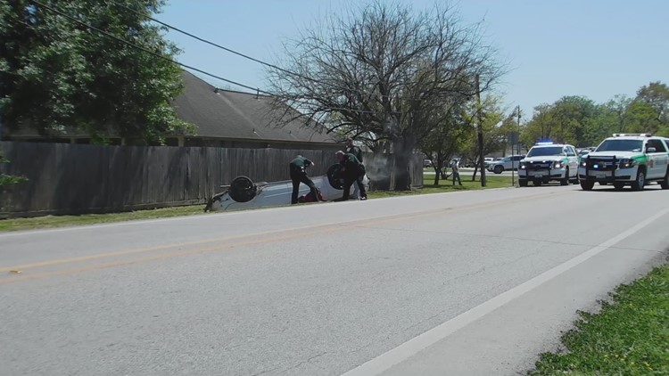 Raw video: Chase ends with flipped car, arrest of 2 teens in Galveston County