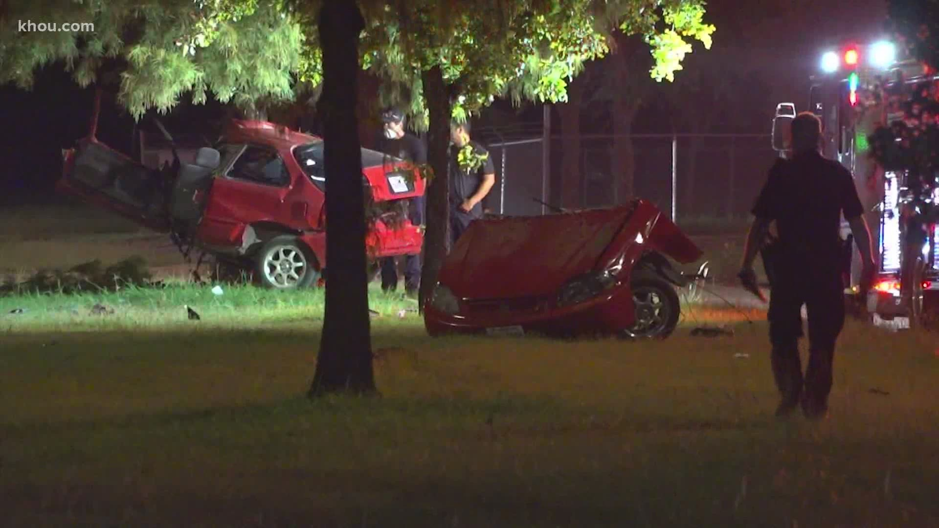Alleged Street Racer Dead After Car Splits In Half During Crash Khou Com
