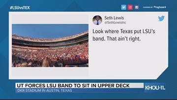 Texas forced the LSU band to sit in the nosebleed seats at DKR Stadium