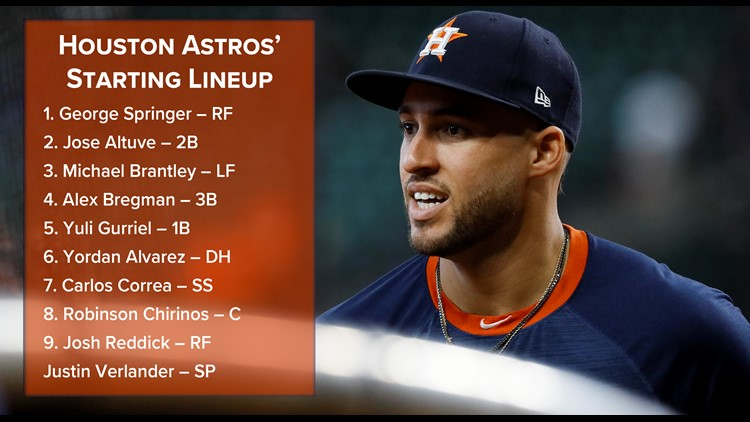 Houston Astros starting lineup Game 2 World Series