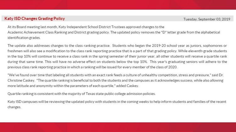 katy isd grading policy