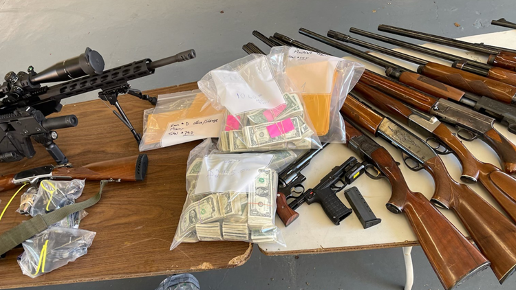 Dozens of guns, drugs, stolen vehicles seized in four raids executed in a single day in southwest Houston