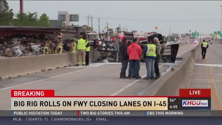 Big rig fire shuts down I-45