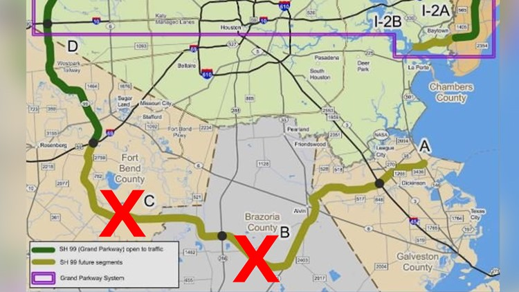 Possible funding cuts for areas marked with red X   Grand Parkway 99