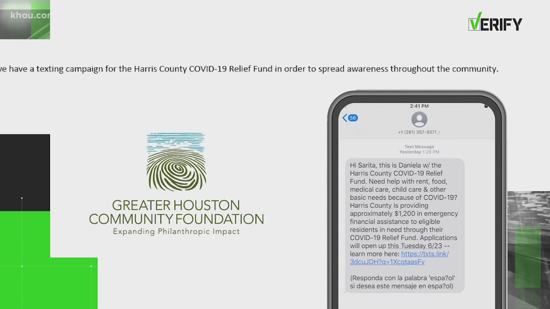 Mass Texts About Harris County Covid 19 Relief Fund Are Legit Khou Com