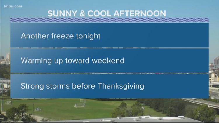 Houston Forecast: Chilly and sunny Wednesday; another freeze overnight