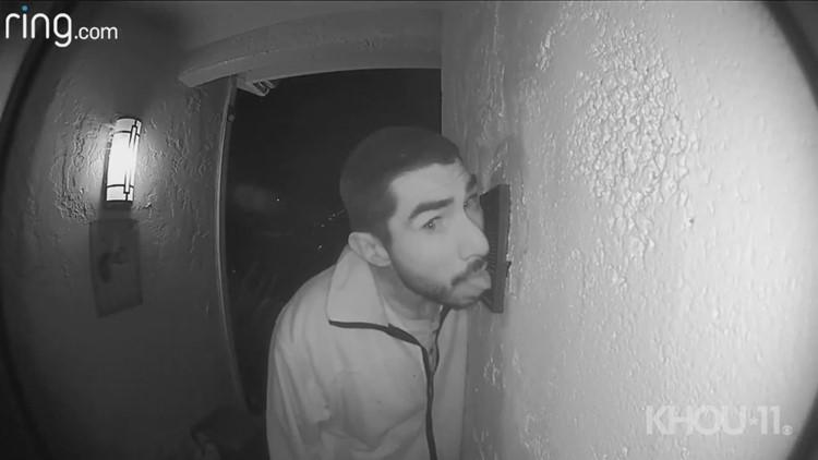 Raw: California man caught licking doorbell