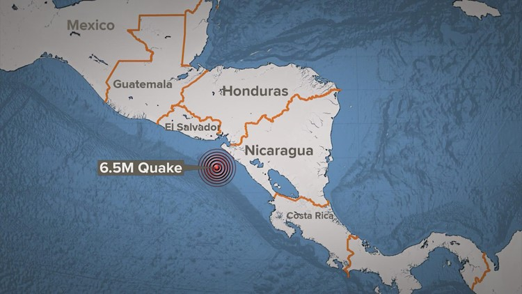 Magnitude-6.5 earthquake hits off coast of Nicaragua