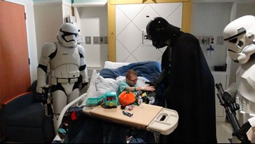 Watch: Tomball boy with rare genetic disorder gets surprise visit from Darth Vader in hospital