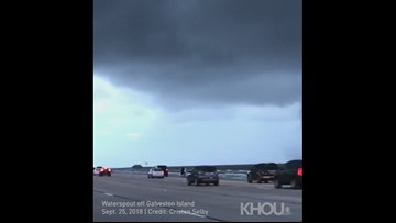 Raw: Big waterspout spotted off Galveston Island on Tuesday morning