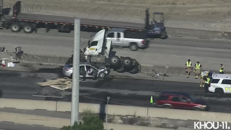 Raw video: Crash on Gulf Freeway has traffic backed up in both directions