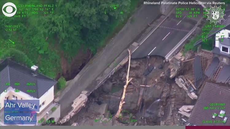 Video from helicopter shows flooding damage in Germany