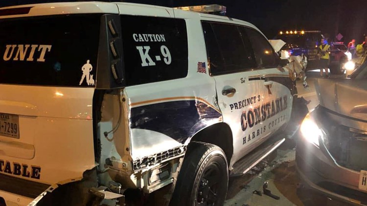 K-9 patrol car hit by suspected drunk driver