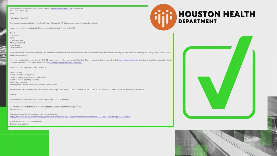 VERIFY: The Houston Health Department is sending emails requesting updated vaccination information