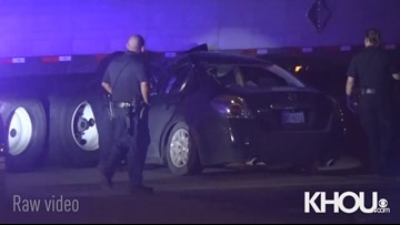 Raw: Driver taken to hospital after crashing into big rig trailer