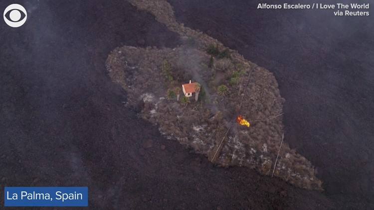 Miracle house spared from lava in Spain