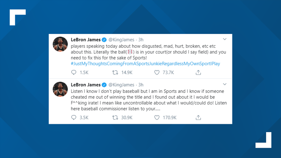 LeBron James calls on MLB to 'fix' Astros' sign-stealing punishment