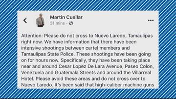 Webb County Sheriff's Office: Do not cross the border at Nuevo Laredo, Tamaulipas Mexico