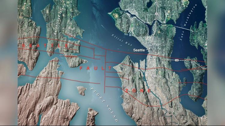 The Seattle Fault zone crosses Bainbridge Island, West Seattle, South Seattle, and Mercer Island.