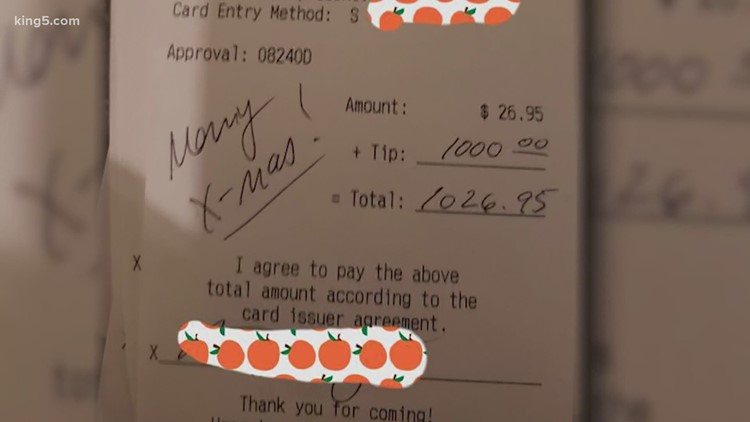 Restaurant surprised by $1,000 Christmas tip on $26 bill as it tries to survive pandemic