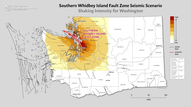 The Southern Whidbey Island Fault zone and which areas will feel the most intense shaking from seismic activity. Map: Department of Natural Resources.