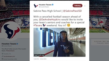 Texans invite Sabine Pass HS senior players to game after cancellation of school's season