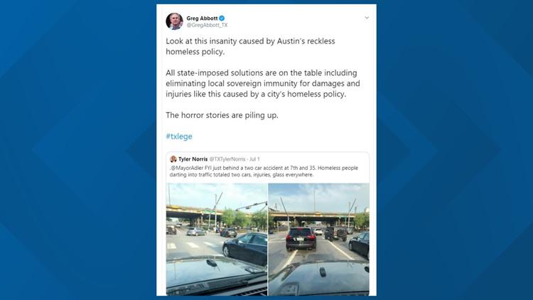 Gov. Abbott Homeless Tweet