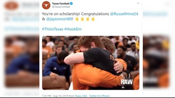 WATCH: Texas Longhorns sophomore linebackers share tearful, emotional scholarship reveal
