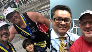 Cancer patient runs Boston Marathon with doctor who saved him