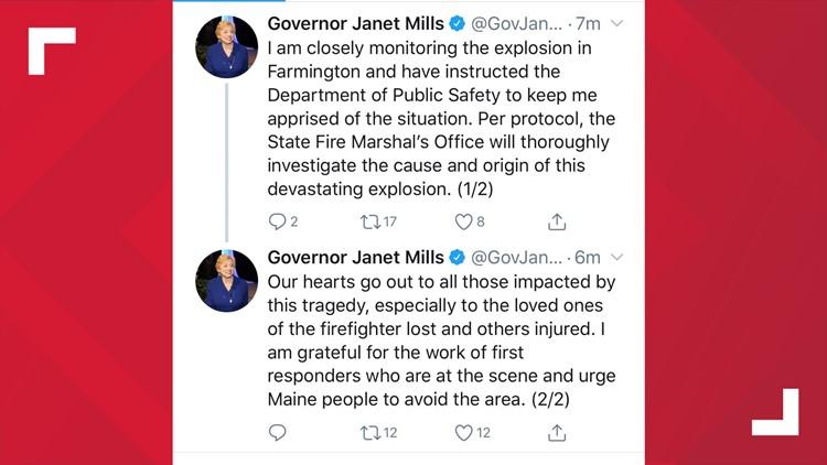 Gov Mills responds to Farmington explosion