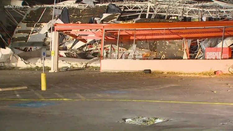 Storms tears apart Home Depot at Forest Lane and I-75