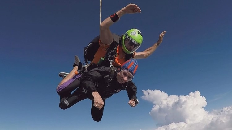 Dallas woman celebrates 90th birthday with skydiving