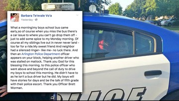 Arlington officer gives ride to kids who missed the school bus