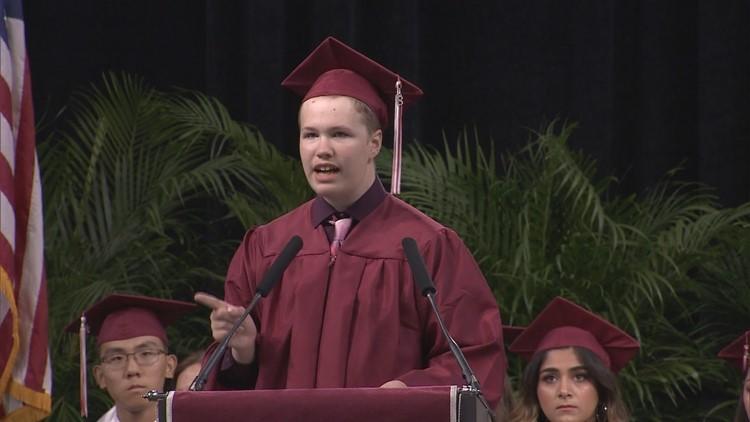 Plano senior with autism wows crowd with graduation speech