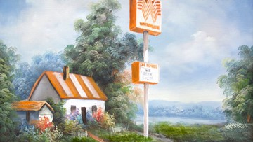 This artist paints iconic Texas establishments into whimsical landscapes and we're all about it