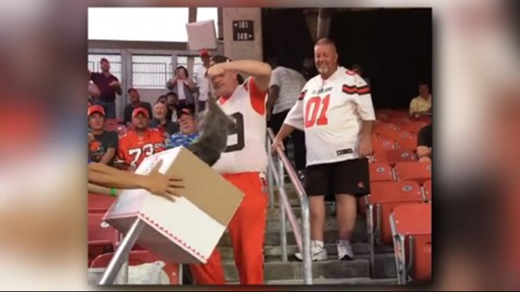 What happened to the possum captured at Thursday's Cleveland Browns game?
