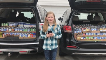 Fourth-grader donates over 1500 cans to Harvest Hope on Giving Tuesday