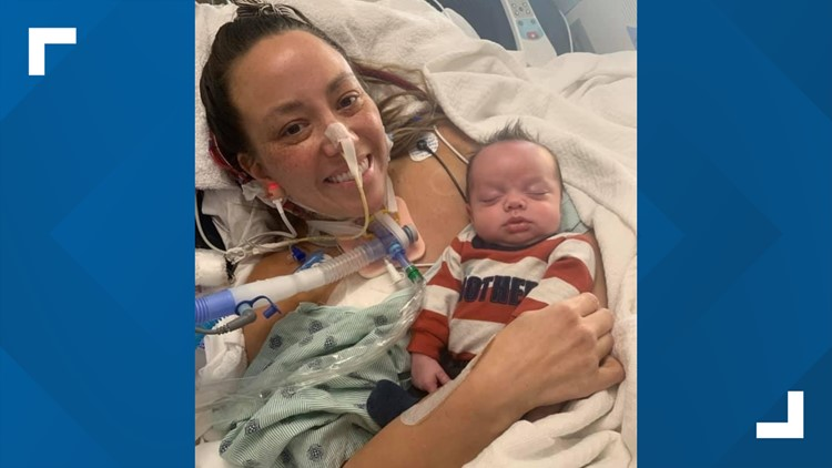 Indianapolis mother battling COVID finally meets her baby more than 50 days after boy was born