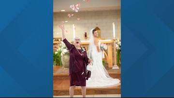 83-year-old grandmother is the ultimate flower girl at her granddaughter's wedding
