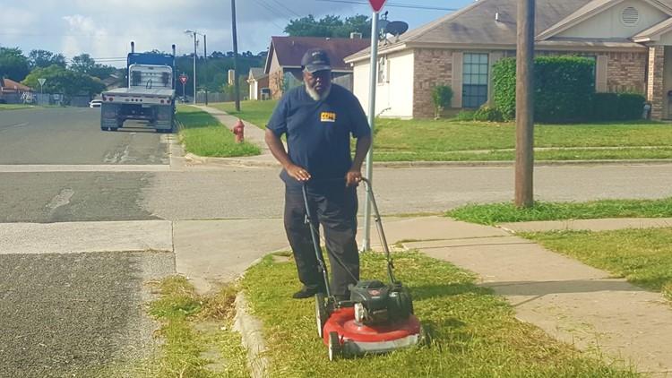 Copperas Cove Texas School Bus Driver Mows Grass At Bus