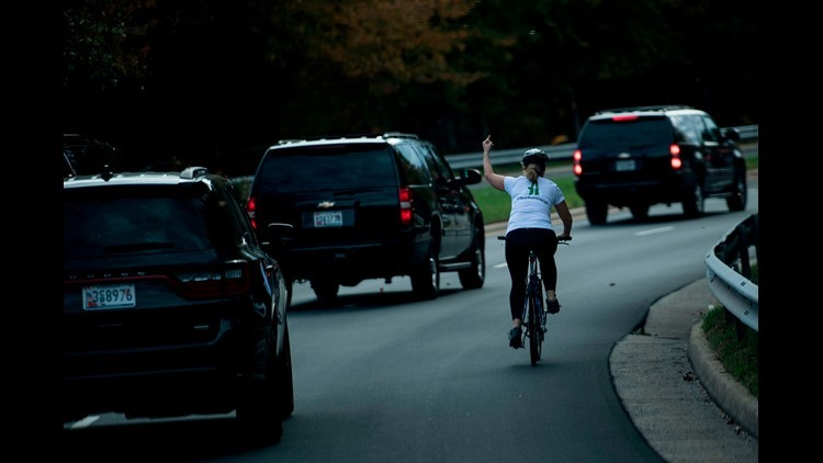 Woman who flipped off Trump motorcade is now running for office in Virginia