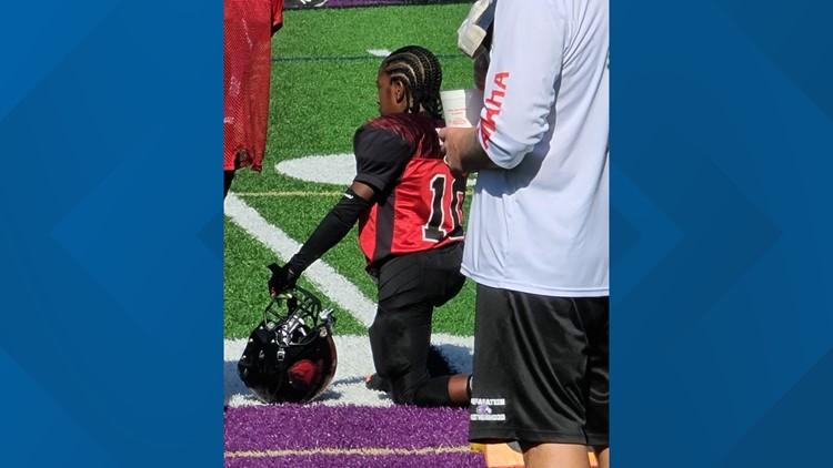 Little league football player kneels to support Black Lives Matter movement
